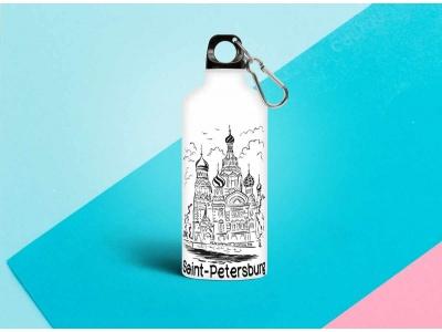 Бутылка металлическая с изображением  «Контуры Спас На Крови» 0.5мл