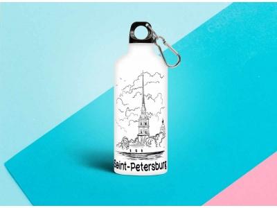 Бутылка металлическая с изображением  «Контуры Петропавловская Крепость» 0.5мл