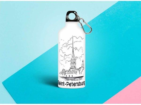 Бутылка металлическая «Контуры Петропавловская Крепость» 0.5мл