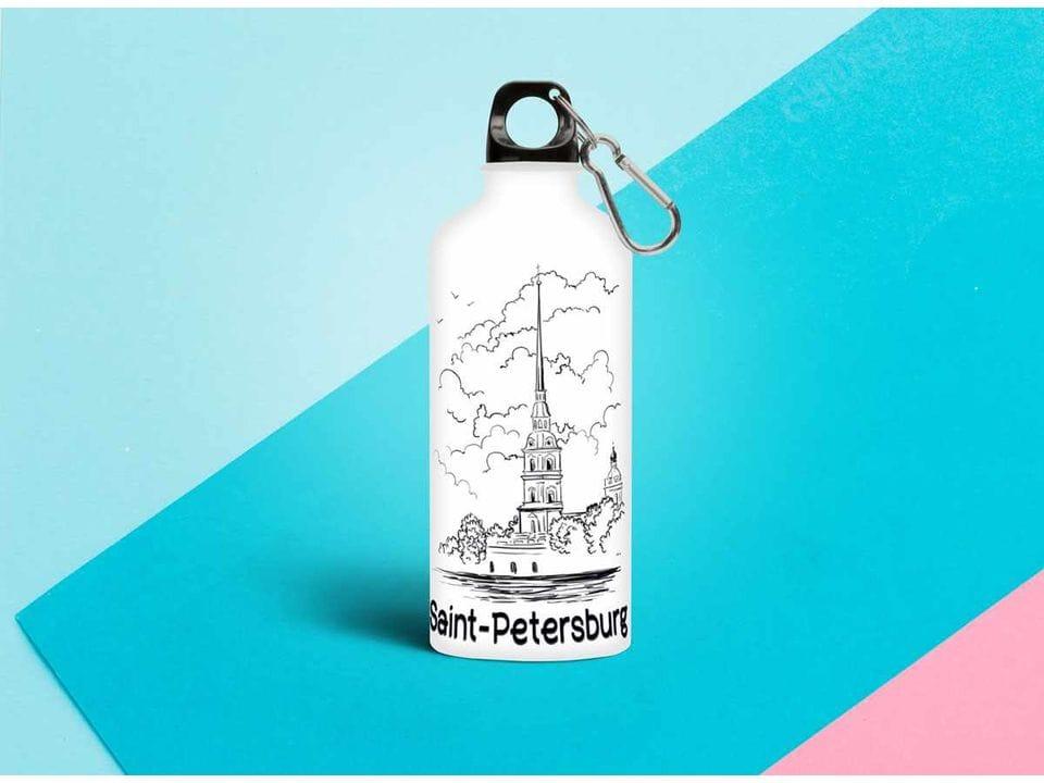 Бутылка из металла иллюстраиця «Петропавловская крепость»