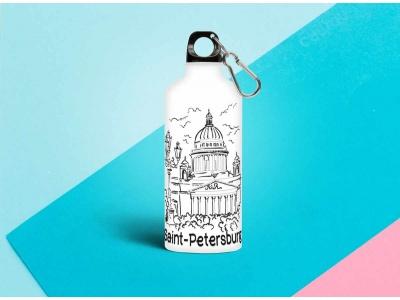 Бутылка металлическая с изображением « контуры Исаакиевский собор» 0.5мл