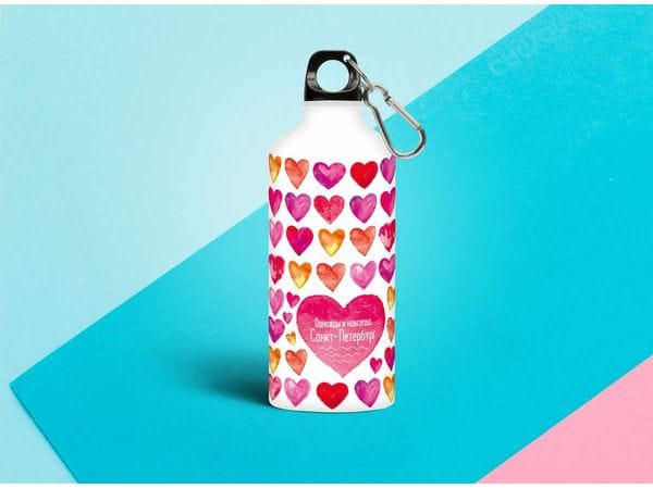 Бутылка металлическая «Сердца» 0.5мл