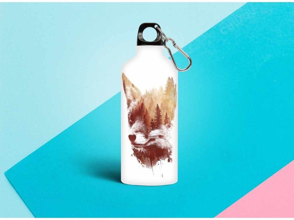 Бутылка из металла принт Лиса