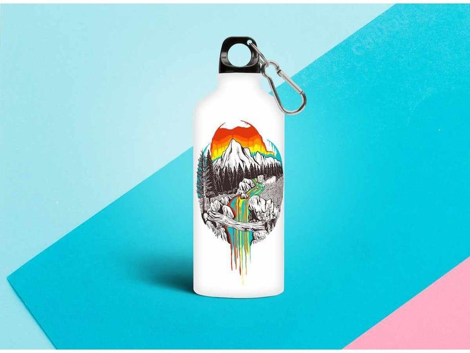 Бутылка из металла с принтом «Радужная река»