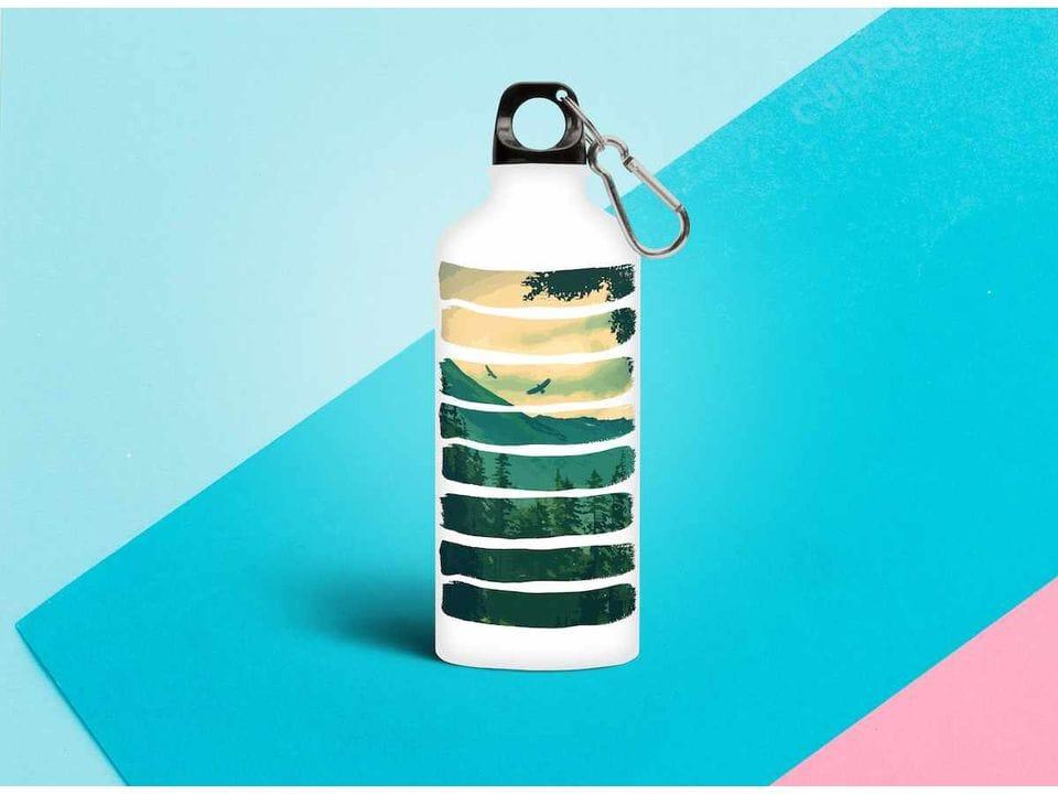Бутылка из металла с принтом «горный пейзаж»