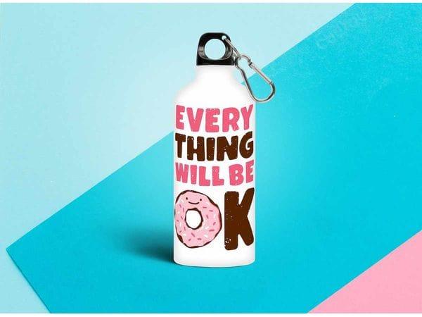 Бутылка металлическая 0,5 л.  «Все будет хорошо. пончик»