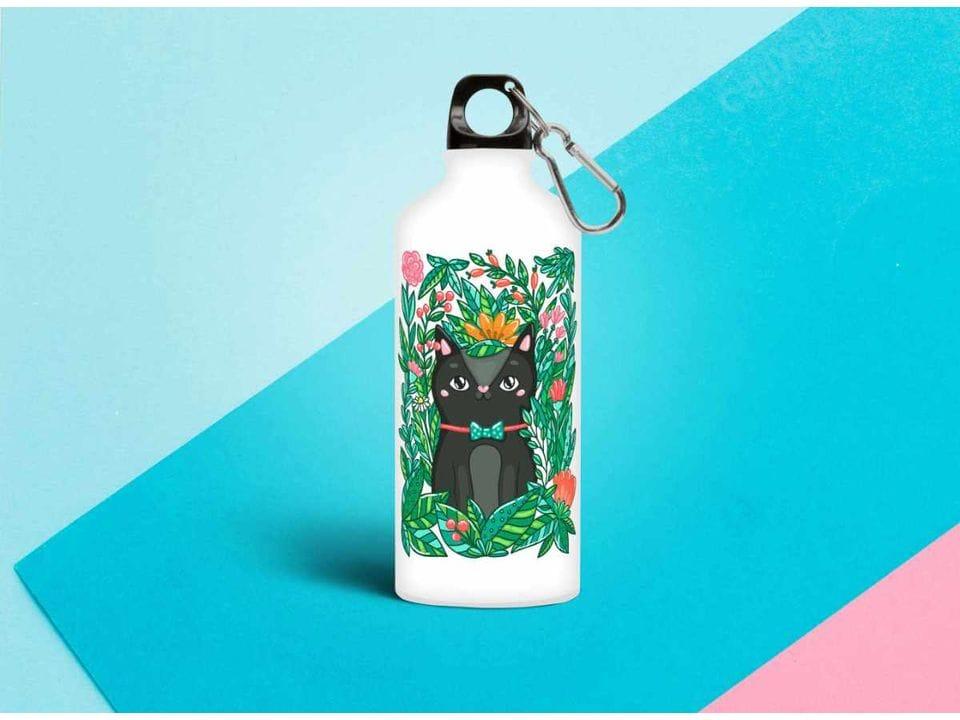 Бутылка из металла принт «Котик в кустах»