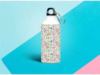 Бутылка металлическая 0,5 л.  «Паттерн цветочки 1»