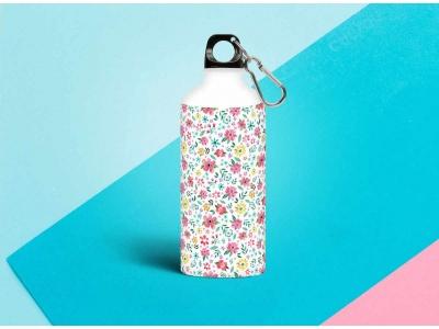 Бутылка металлическая 0,5 л.  «Паттерн цветочки 2»