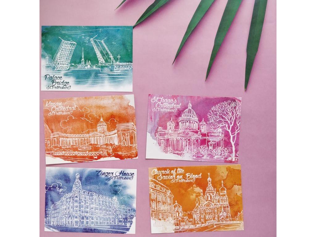 Набор почтовых открыток в упаковке, добрый день прекрасного