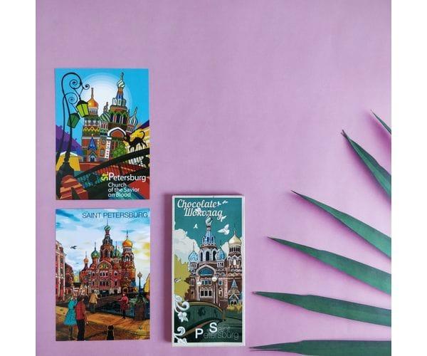 """Набор подарочный """"Храм Спас-на-Крови"""" состоит из шоколадки и двух открыток для посткроссинга"""