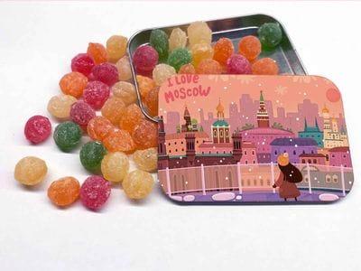 Монпансье в металлической баночке «I love Moscow» - панорама с крыши Детского мира