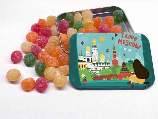 Монпансье в металлической баночке «I love Moscow»