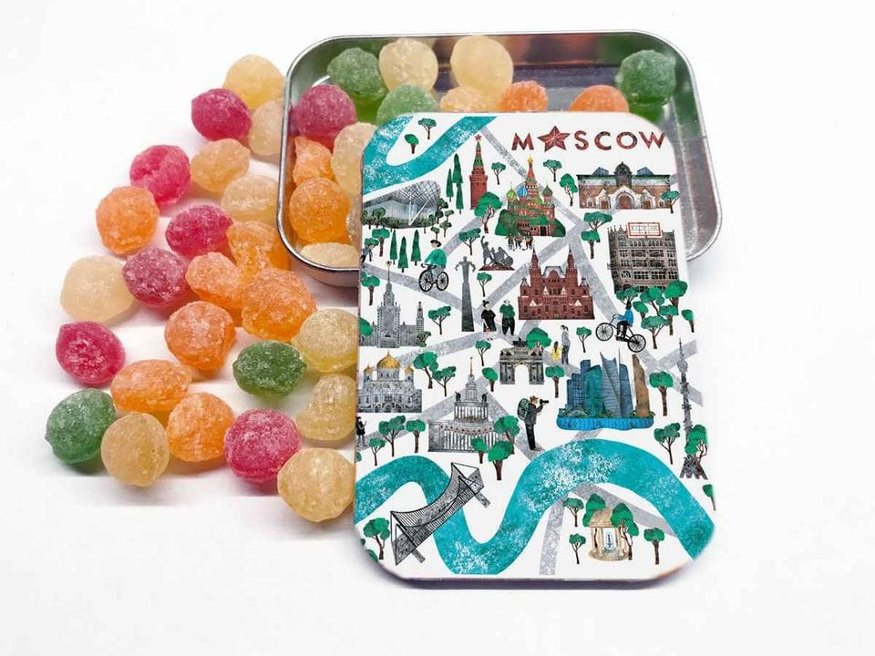 Карамель «монпансье» в коробочке с иллюстрацией Москвы «Большой театр»
