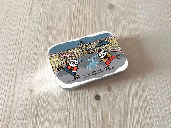 Монпансье «Коты на роликах на дворцовой» в металлической баночке
