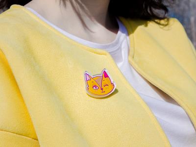 Значек из оргстекла с яркой печатью «Кот планета» от MARKOV design в анимированном стиле
