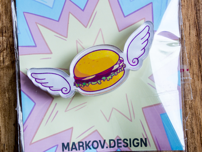 Брошь из акрила с яркой печатью «Бургер» от MARKOV