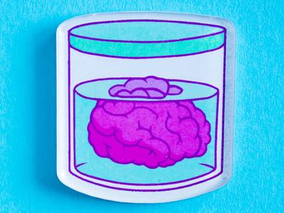 Брошь из оргстекла с яркой печатью «Мозги в банке» от MARKOV