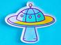 Брошь из акрила с яркой печатью «НЛО UFO» от MARKOV design в анимированном стиле