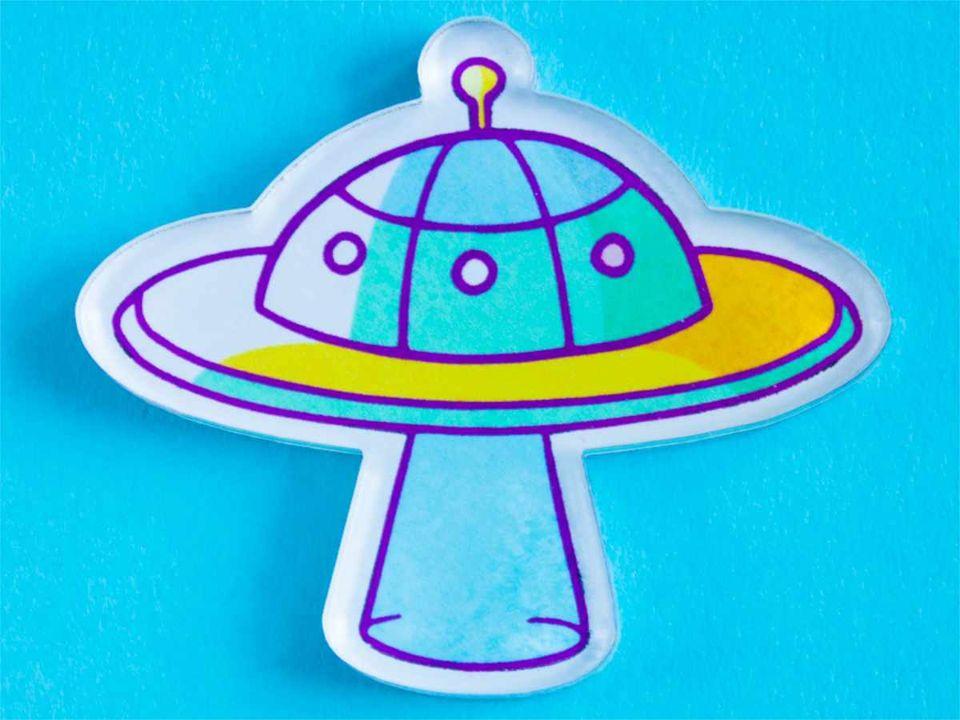 Брошь печатью «НЛО UFO» от MARKOV design в анимированном стиле