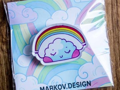 Брошка с яркой печатью «Облачко» от MARKOV design в анимированном стиле