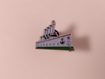 Значок металлический с эмалью «крейсер Аврора»