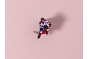 Значок металлический с эмалью «Хоккеист»
