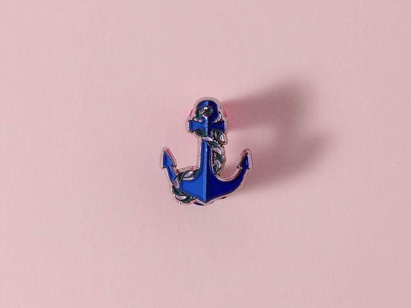 Значок металлический с эмалью «Якорь»