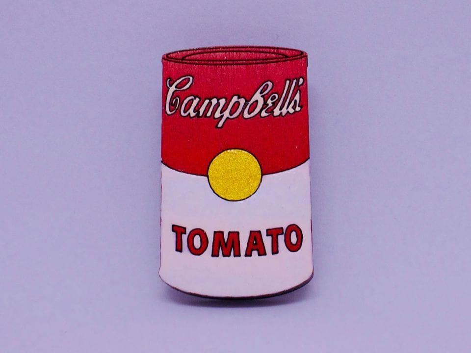 Брошь из дерева ручная покраска «Суп Кэмпбелл» от Билла Трейлора хендмейд