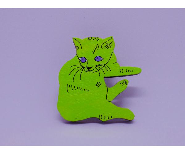 Брошь на одежду из дерева ручная роспись «Котик Уорхола» от Билла Трейлора handmade