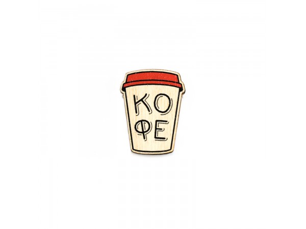 Деревянный пин «Стакан кофе», Waf Waf