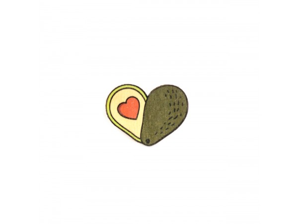 Деревянный пин «Авокадо сердце», Waf Waf