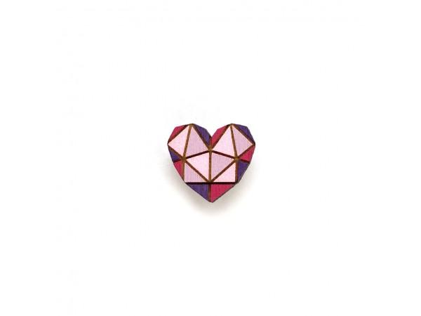 Деревянный пин «Сердце», геометрическое, Waf Waf