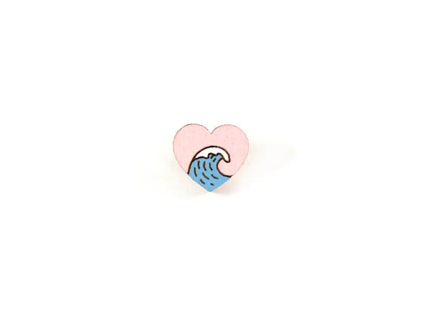 Деревянный пин «Море в моем сердце», волна, Waf Waf