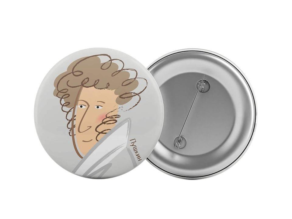 Круглый значок из металла с иллюстрацией Пушкина