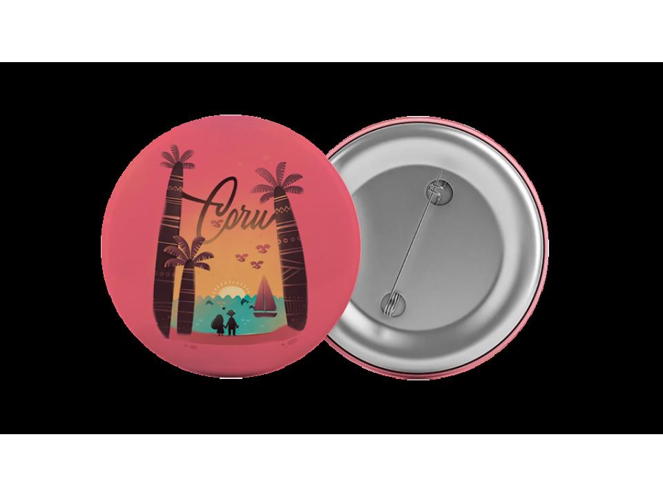 Круглый значок из металла с иллюстрацией «Сочи, закат над морем»