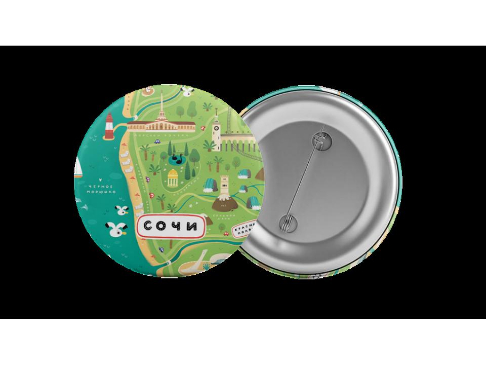 Круглый значок из металла с надписью «Сочи, карта региона»