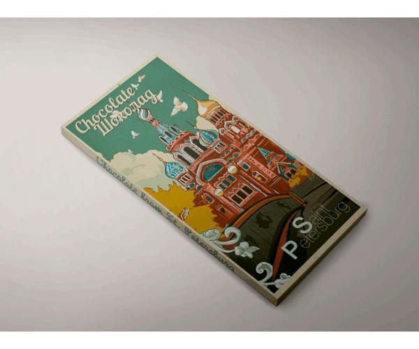 Шоколад молочный «храм Спас на Крови» из серии Ретро постер