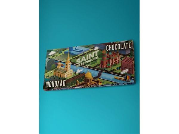 Шоколад молочный «Панорама Петербурга» зеленая, 100гр