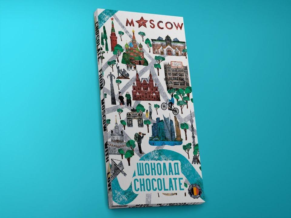 Молочный шоколад из бельгийского какао - «Карта Москвы. Зарядье», 100гр