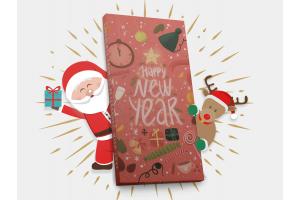Шоколадная плитка «Happy New Year» (Новый год), 100гр, молочный