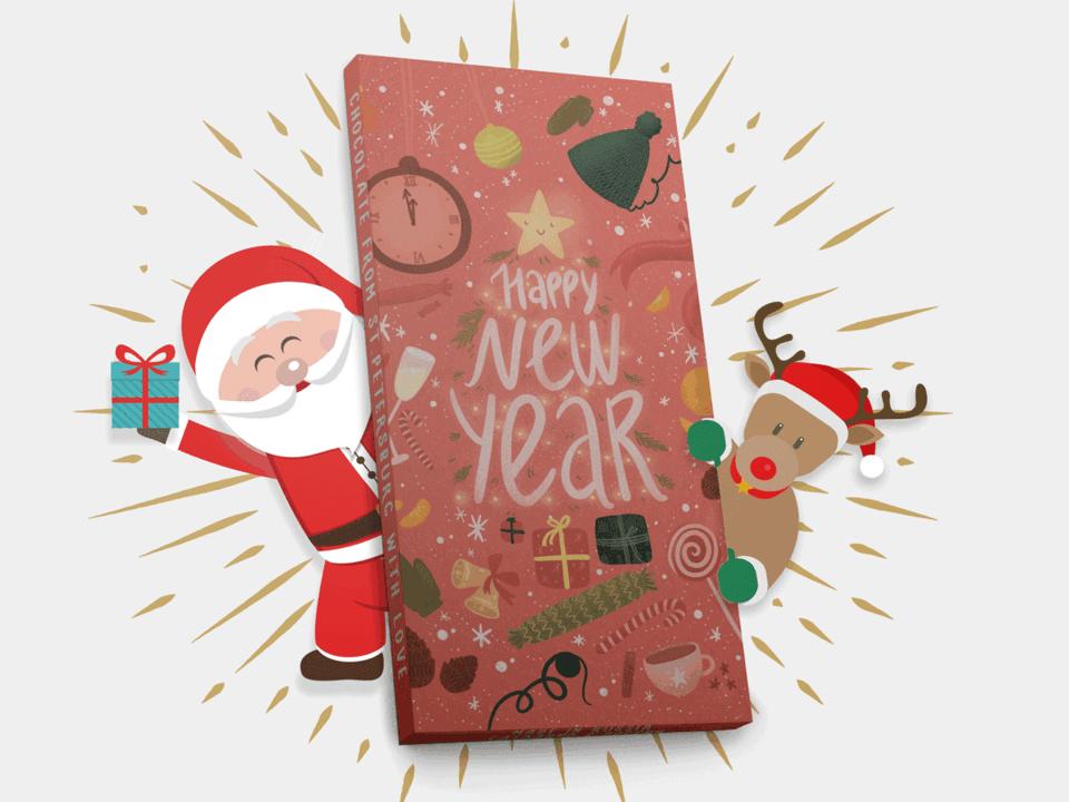 Шоколад молочный «Happy New Year» из новогодней серии шоколада