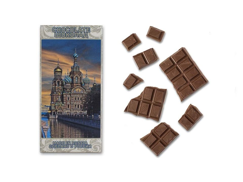 Шоколад молочный «храм Спас на Крови» фото закат
