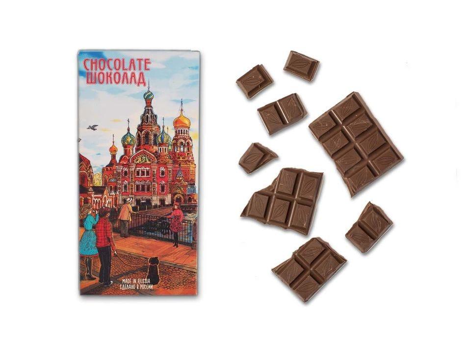 Шоколад молочный «храм Спас на Крови» из серии Романтический Петербург