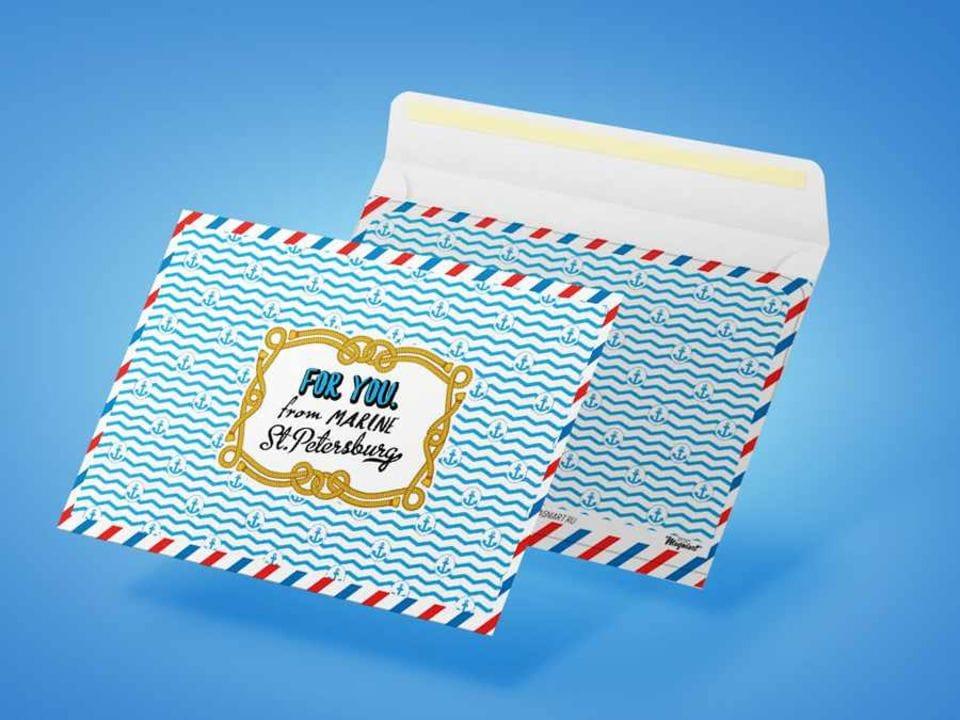 Конверт почтовый для посткроссинга «Для тебя из морского Санкт-Петербурга»