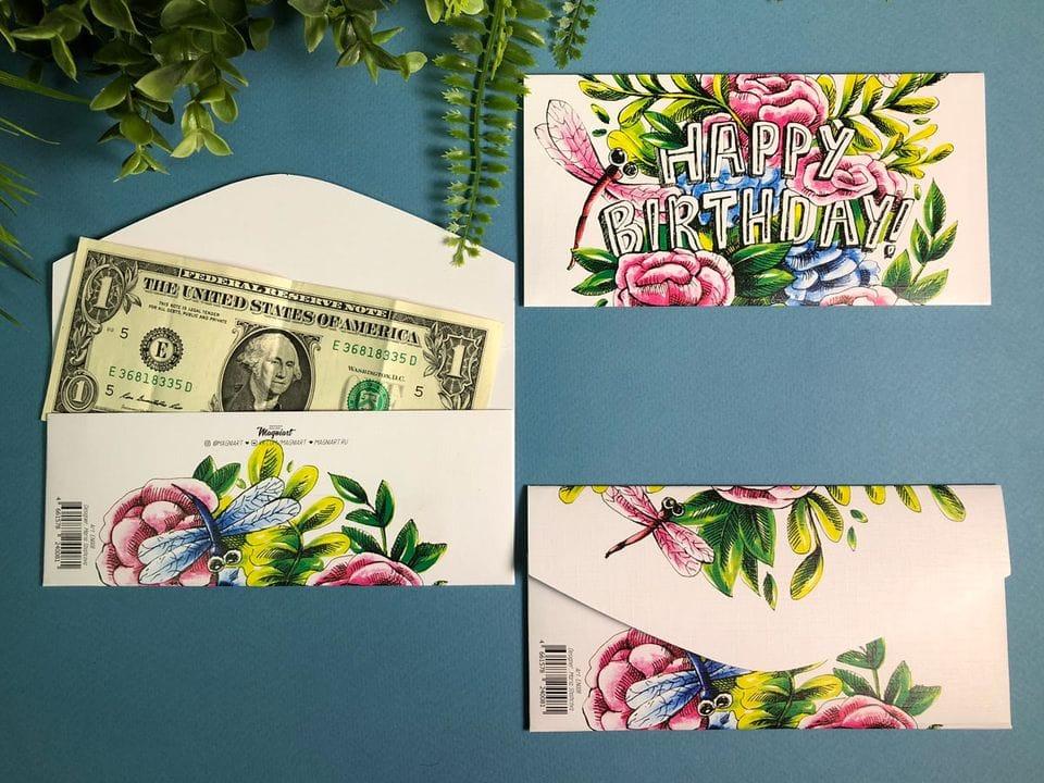 Конверт для денег «Happy Birthday» с кустовыми розами и стрекозой напоминающей холст