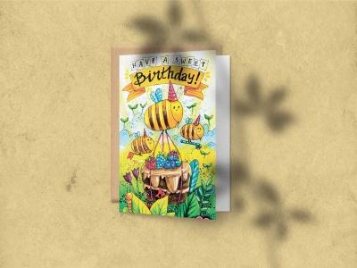 Открытка поздравительная «Sweet birthday» на дизайнерской бумаге soft touch