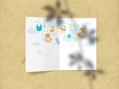 Поздравительная открытка «С новорожденным (мальчик)» на дизайнерской бумаге soft touch