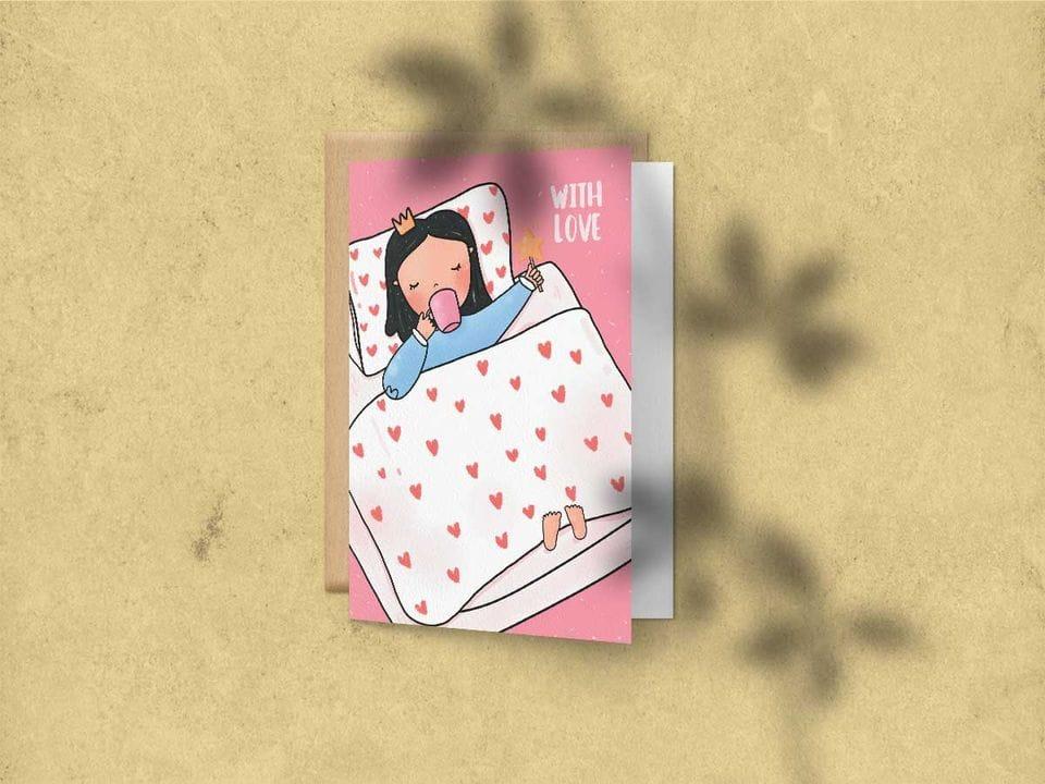 Поздравительная открытка с цветным разворотом и покрытием софт тач, с изображением принцессы в снах