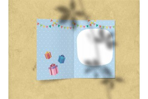 Открытка поздравительная - «Поздравляю» с иллюстрацией бегемота